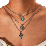 Women Fashionable Simple Alloy Turquoise Three-Layer Combination Necklaces