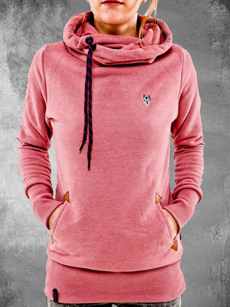 Long Sleeve Embroidered Sweatshirts For Women Pockets Womens Hooded Sweatshirts
