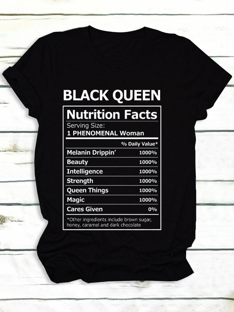 Women Black Queen Letter Print Simple Short Sleeve T-Shirts