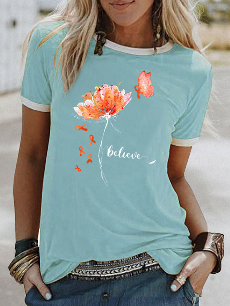 Flower Pattern Printed Short-Sleeved T-shirts