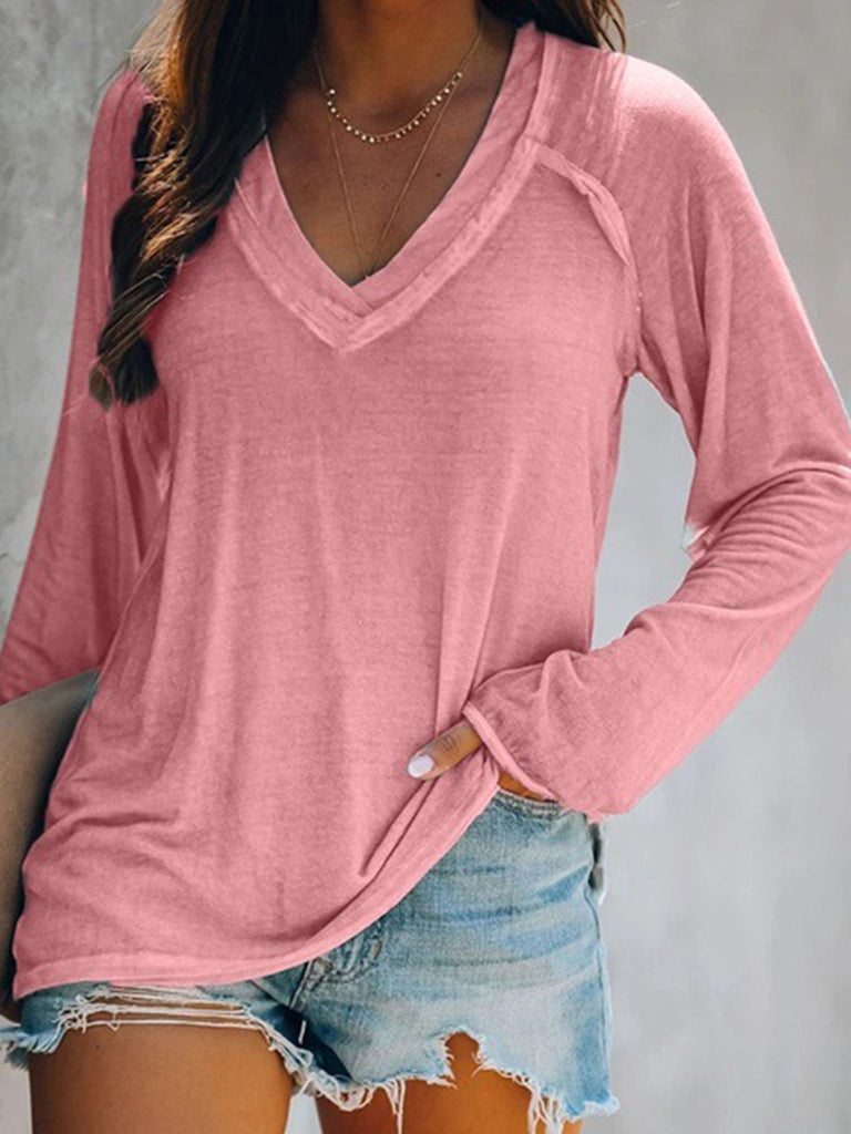 Women V Neck Solid Paneled Long Sleeve T-Shirts