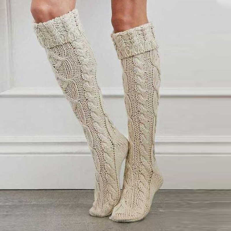 Women Casual Solid Color Warm Knee High Socks