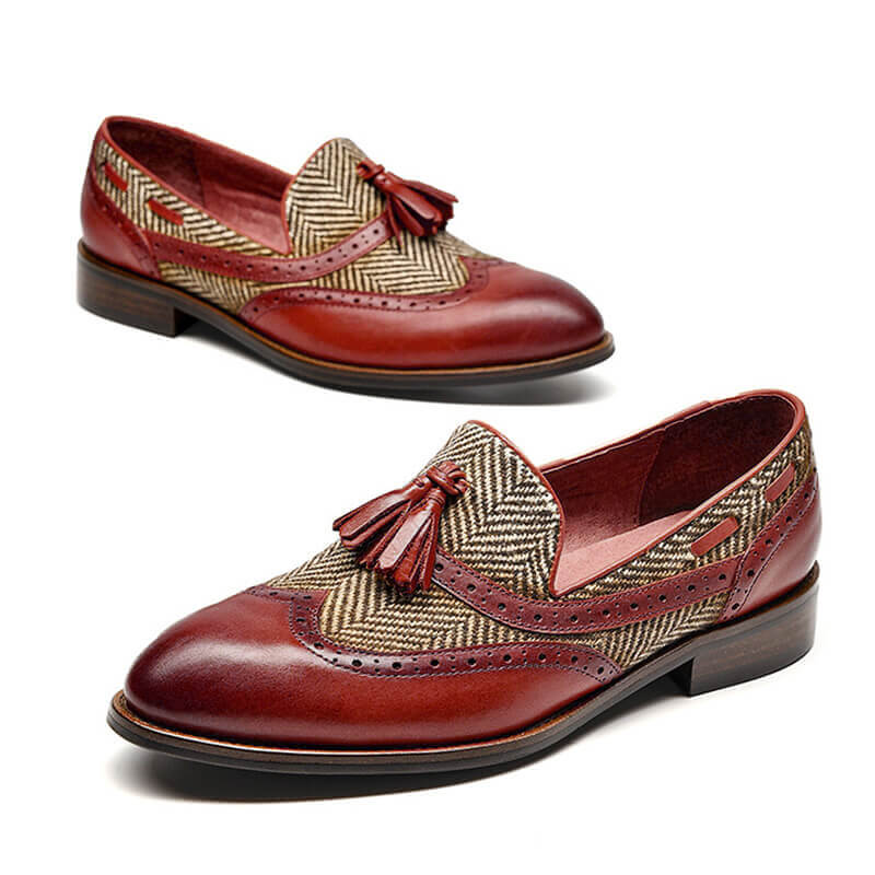 Women Casual Mixed Colors Tassel Slip On Loafers