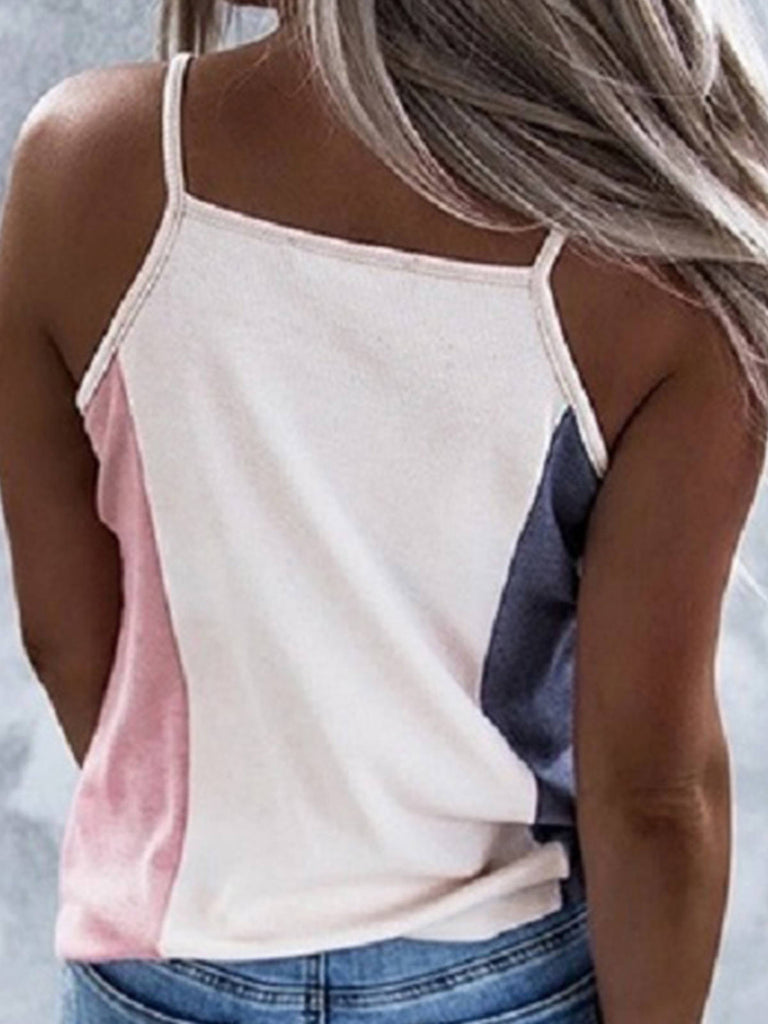 Women Color-block V Neck Sexy Spaghetti Vests
