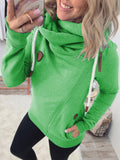 Women Solid Cowl Neck Long Sleeve Pockets Drawstring Sweatshirts