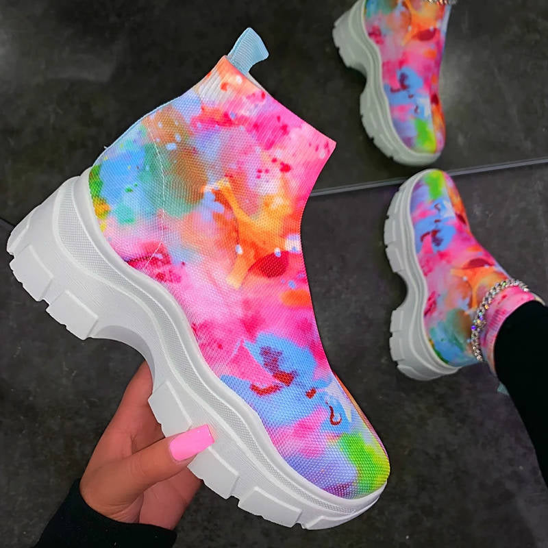 Women Fancy Flyknit Fabric Tie-dye Breathable Slip On Platform Creepers Sneakers