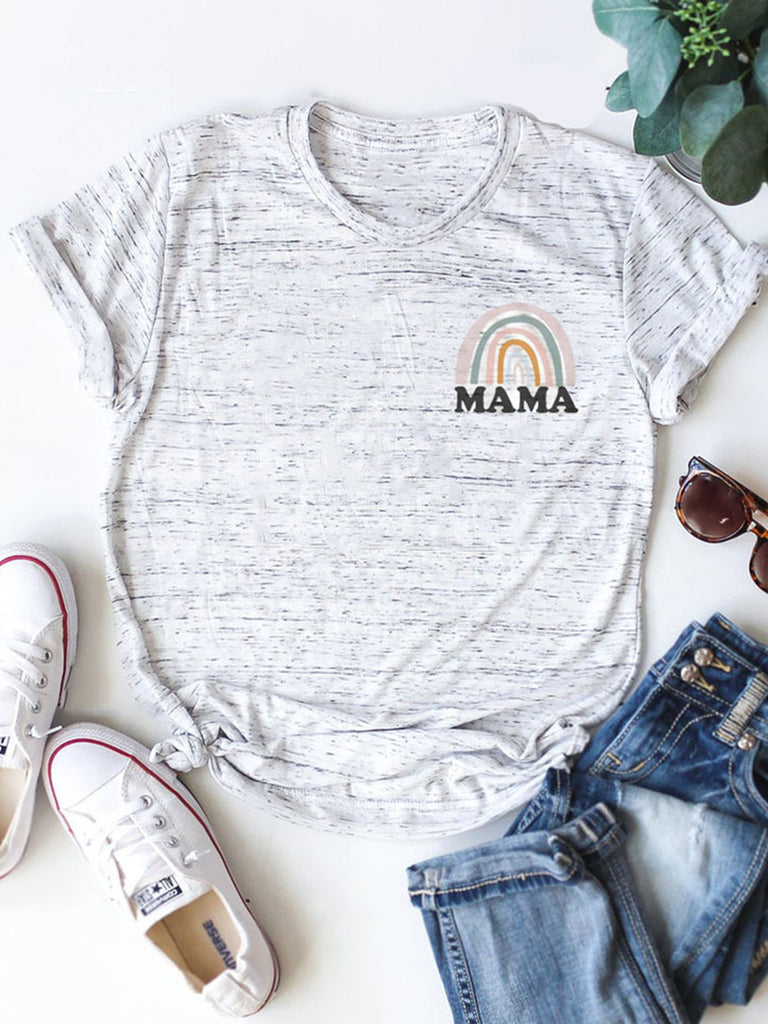 Rainbow MAMA Letter Print Crew Neck Short Sleeve T-shirts