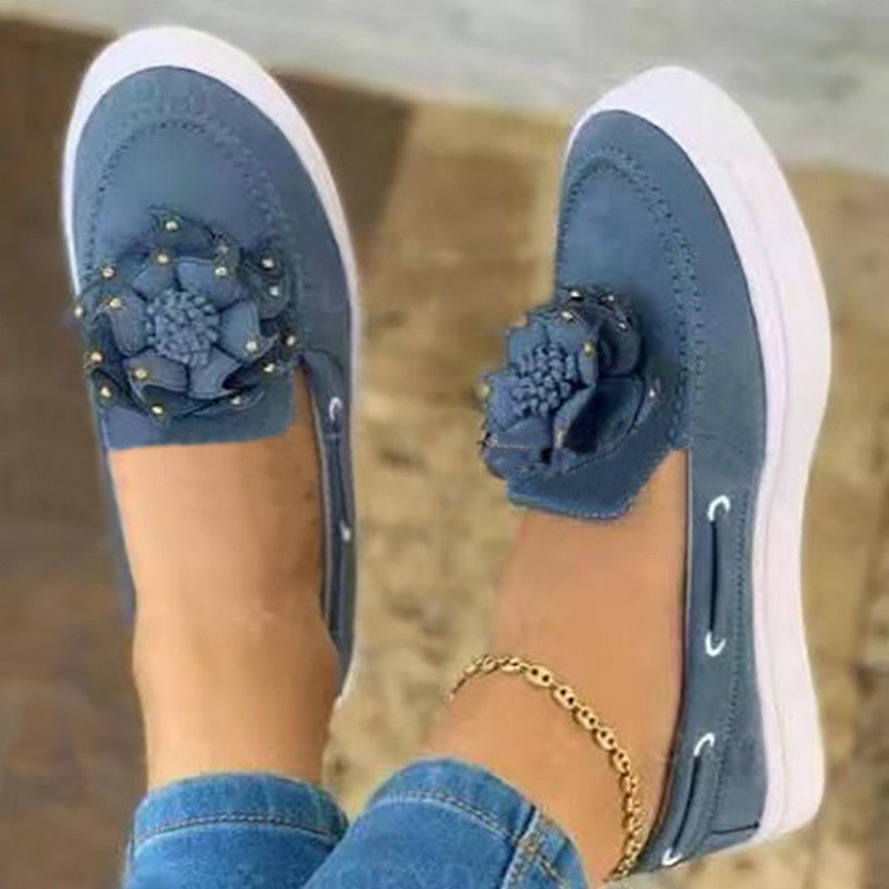 Women Casual Comfortable Shearling Flower Adornment Slip On Loafers