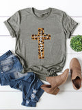 Cross Leopard Print Casual Short Sleeve Women's T-shirts