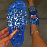 Women Fancy Comfy Hit Color Characteristic Pattern Open Toe Slip On Platform Slide Slippers (Buy 1 get 2nd 50%OFF)