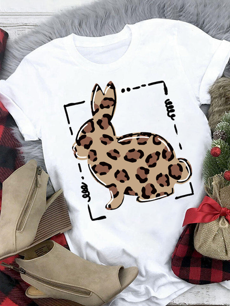Easter Bunny Printed Crew Neck Short Sleeve T-Shirts