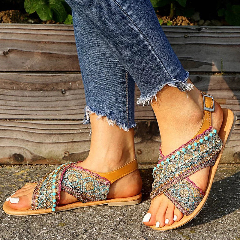 Women Fashionable Bohemian Pu Adjusting Buckle Open Toe Sandals