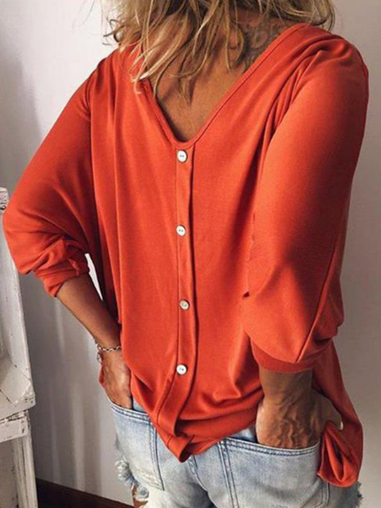 Woman Buttoned Solid Long sleeve V neck T-shirts
