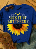 Woman Hippie Sunflower Printed Short sleeve T-shirts