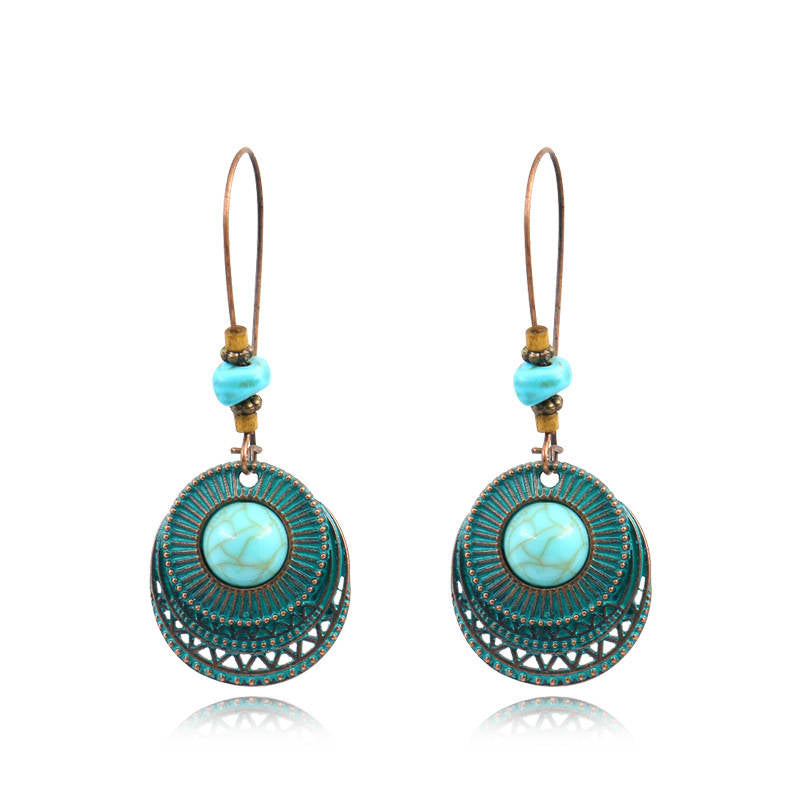 Vintage Alloy Round Shape Oversized Green Earrings