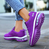 Women Gorgeous Mixed Colors Air Cushion Lace Up  Athletic Sneakers