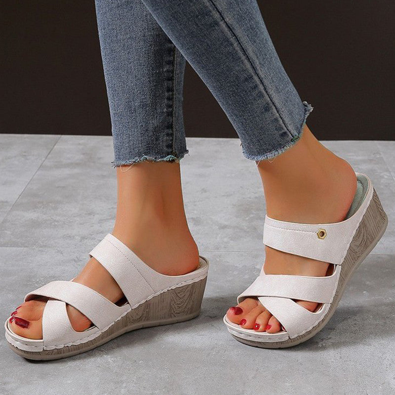 Women Casual Daily Pu Cross-strap Wedge Heel Sandals