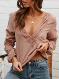 Women Lace V Neck Solid Balloon Long Sleeve Blouses