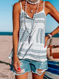 Women's Beach Striped Print V Neck Vests