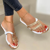 Women Casual Daily Pu Rhinestone Sandbeach Thongs Slippers