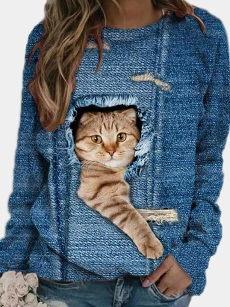 Women Cartoon Cat Printed Casual Crew Neck Long Sleeve T-shirts