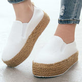Women Casual Pu Elastic Band Braided Strap Platform Loafers