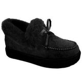 Women Slip On Inner Fur Platform Casual  Warm Loafers