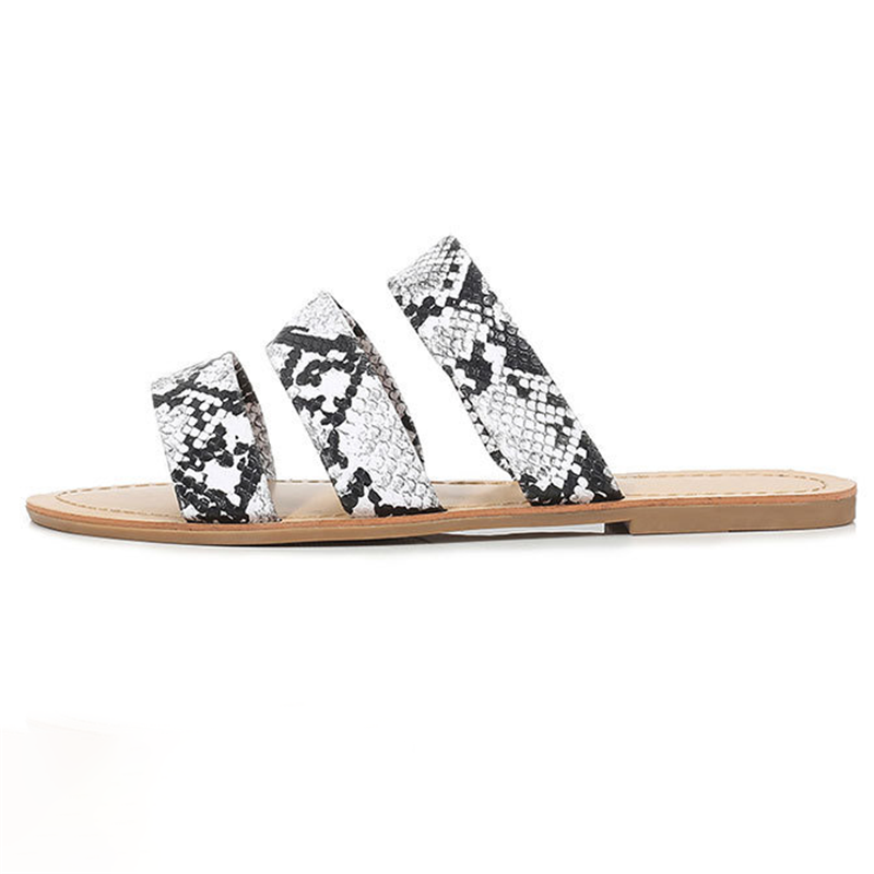 Woman Casual Snake Pattern Beach Sandals Flat Slippers