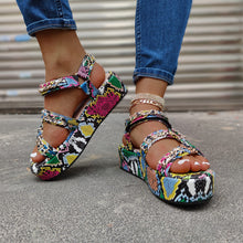 Load image into Gallery viewer, Level Up Multicolor Snakeskin Platform Sandal
