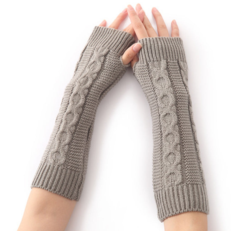 Women  8-Shaped Hemp Pattern Half-finger Knitted Gloves