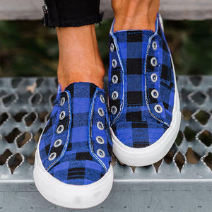 Women Plaid Slip-On Round Toe Flat Heel Casual Sneakers