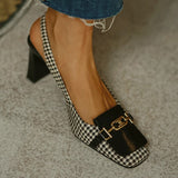 Women Simple Elegant Pu Plaid Chain Adjusting Buckle Hight Heel Sandals