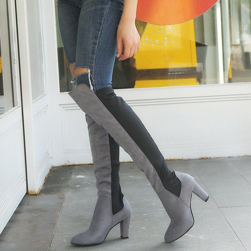 Women Elegant Color Block Slip-on Chunky Heel Wide Calf Boots