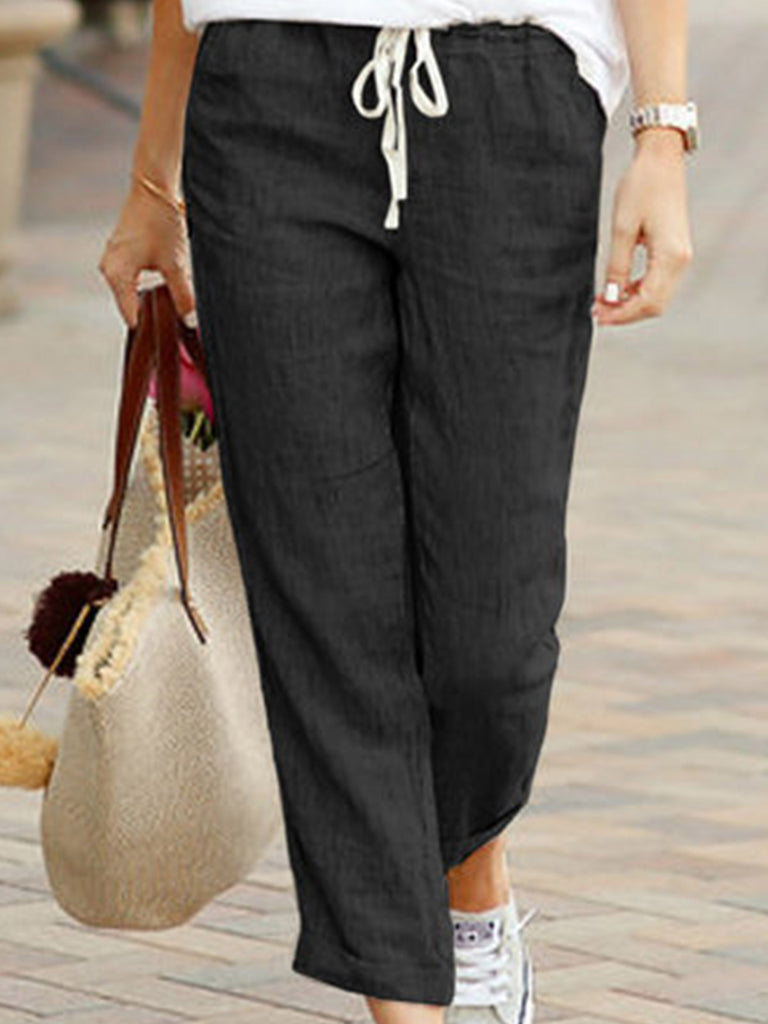 Casual Women Solid Runched Linen&Cotton Pants