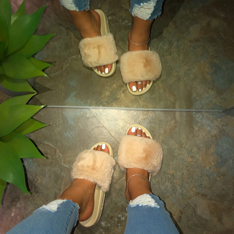 Women Large Size Fluffy Fluff Slippers