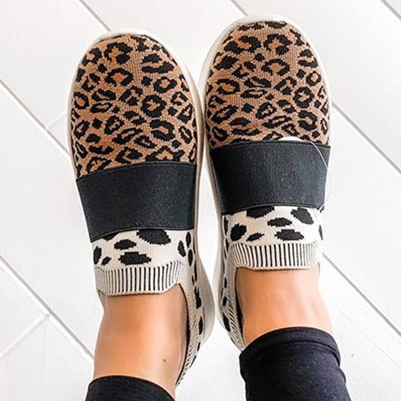 Women Fashion Flyknit Fabric Leopard Cheetah Mixed Color Slip On Sneakers