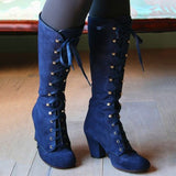Women Autumn/Winter Elegant Retro Wide Calf Chunky Heel Boots