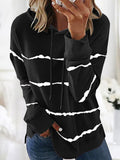 Tie-dye Printed Striped Hooded Loose Long Sleeve Women's Drawstring Sweatshirts