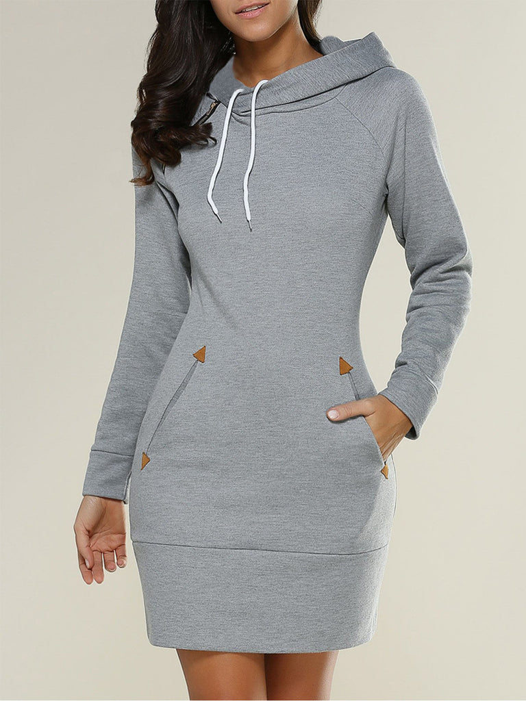 Solid Long Sleeved Hooded Sweatshirts Dresses Turtle Neck Casual Dresses For Women