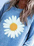 Crew Neck Floral Printed Casual Cute T-Shirts
