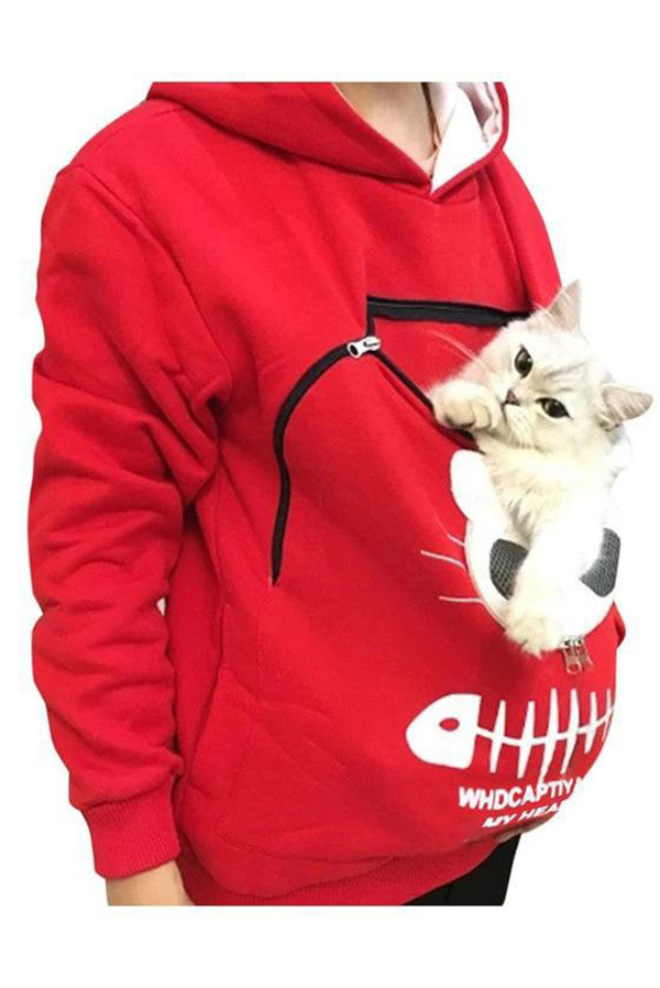 Unisex Pet Holder Hoodie Sweatshirt Animal Pouch Hood Tops