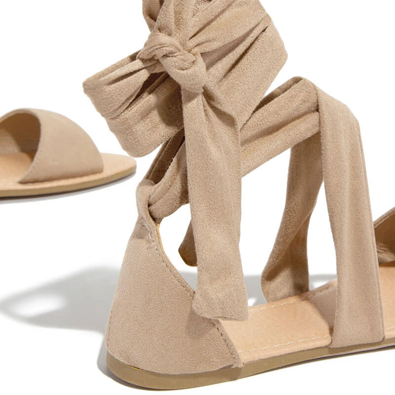 Women Suede Lace-up Open Toe Flat Heel Sandals