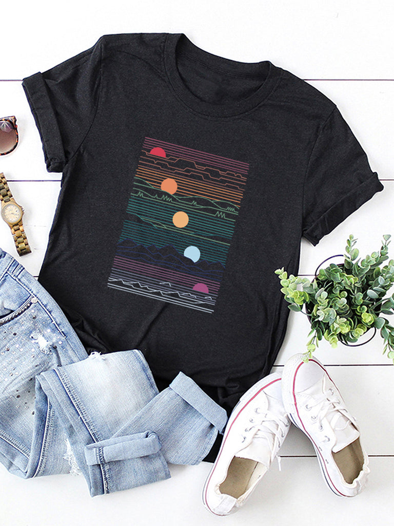 Women's Abstract Printed Cotton Short Sleeved T-shirts