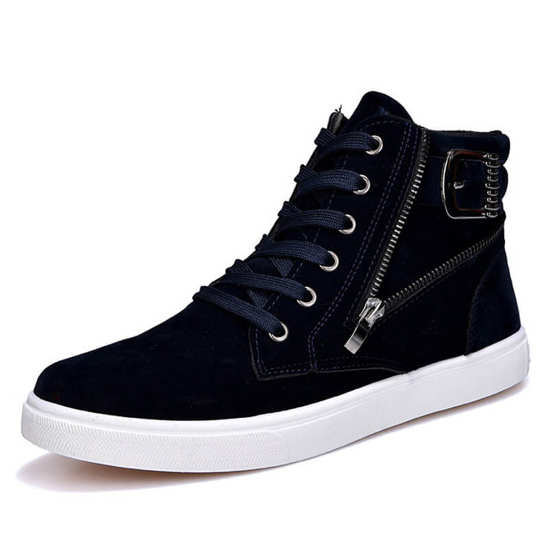 Men Casual Side Zipper High Top Lace-Up Sneakers