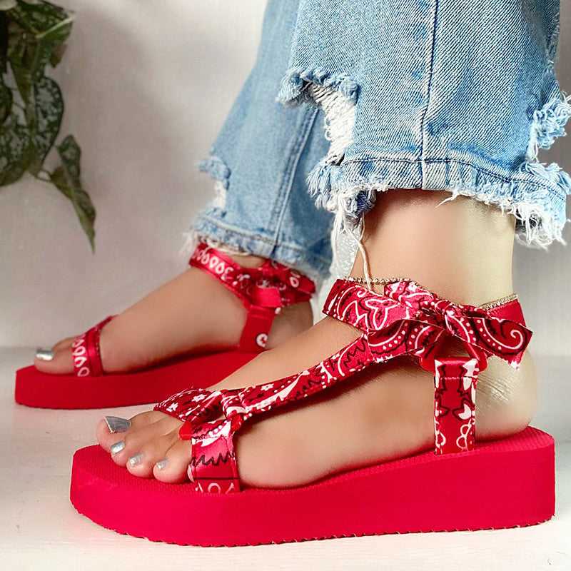 Women Casual Fashion Cloth Print Magic Tape Platform Sandals