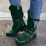 Women Vintage Zipper Buckle Decor Wide Calf  Mid-calf Boots