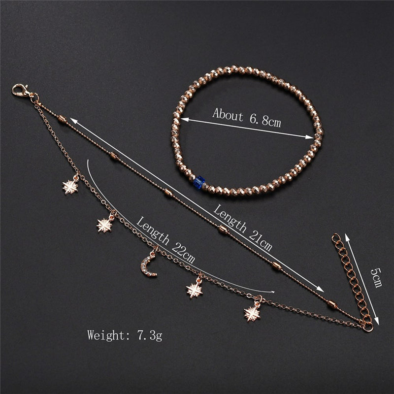 3pc/set Women Star Tassel Pendant Layers Anklet Summer Beach Anklet