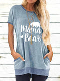 Crew Neck BEAR Print Pockets Short-Sleeved T-shirts