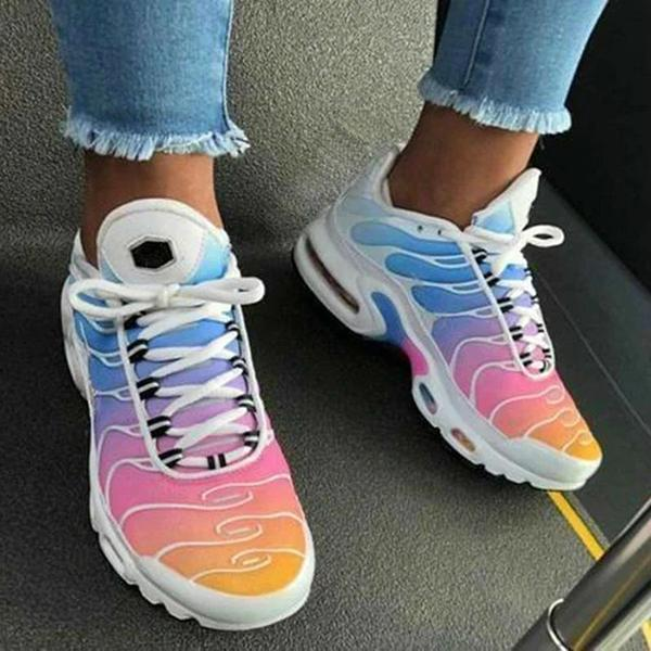 Women Fashion Hit Color Lace Up Air Cushion Sneakers