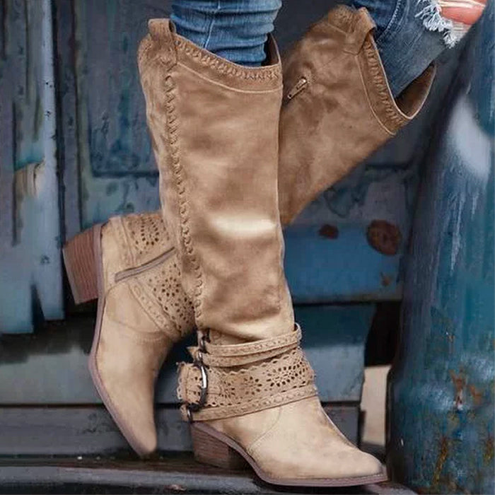 Women's  Autumn And Winter Casual Hollow Design Wide Calf Boots